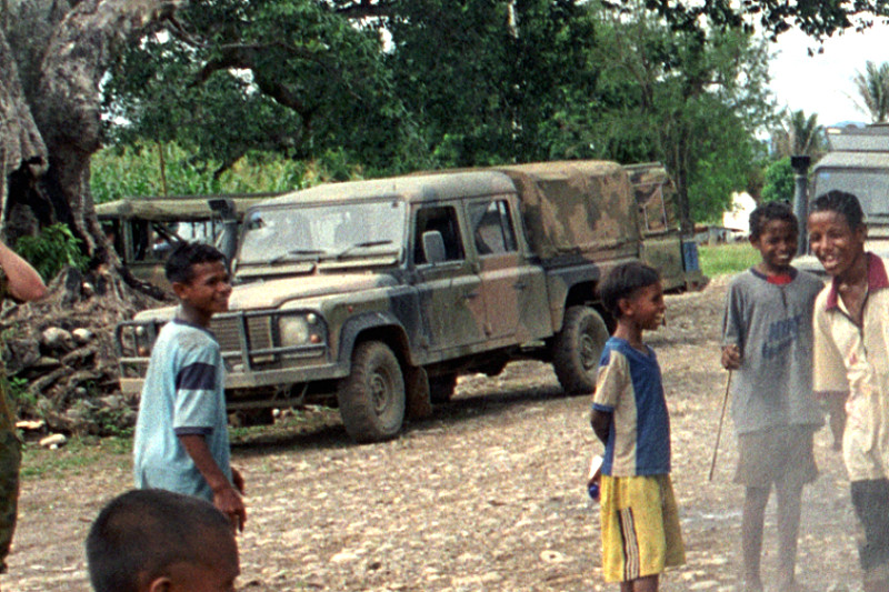Another East Timor photo but in this case a material canopy.  sc 1 st  REMLR.com & Land Rover Defender 130 APR - REMLR
